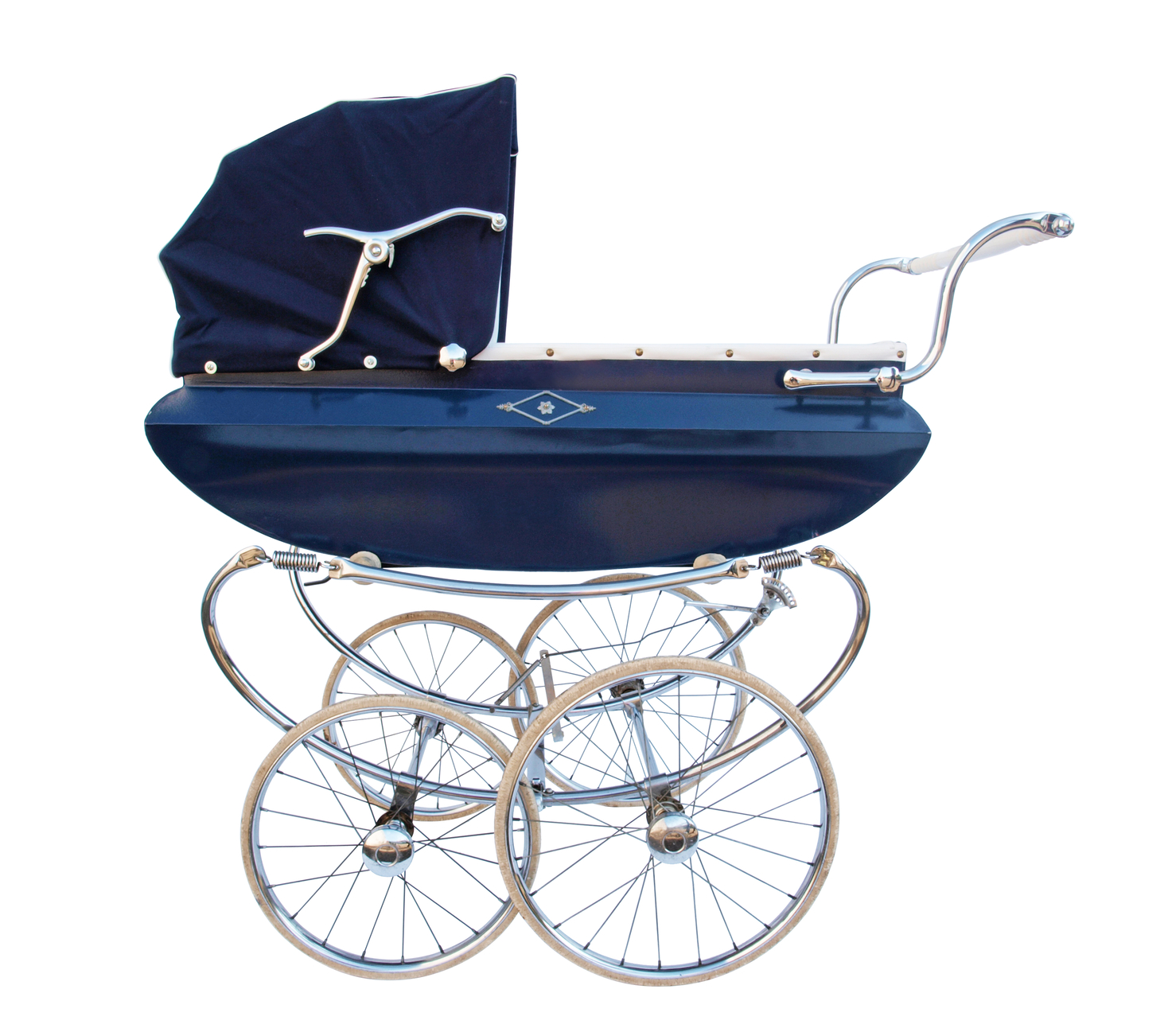 Blue baby carriage with chrome finish