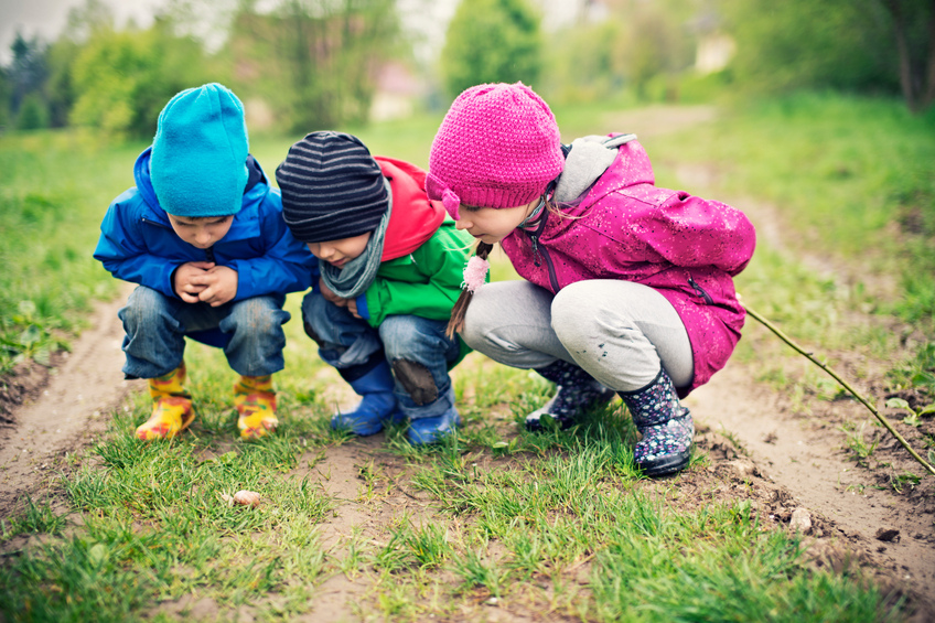 Three kids aged 5 and 8 examining a roman snail in the grass.