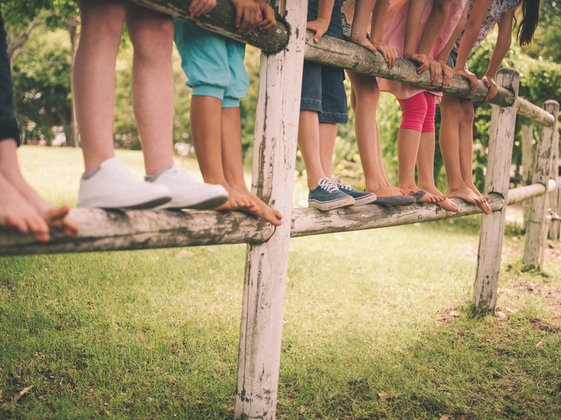 Cropped shot of the legs of a row of children standing on a rustic wooden fence in a green and grassy park on a summer day